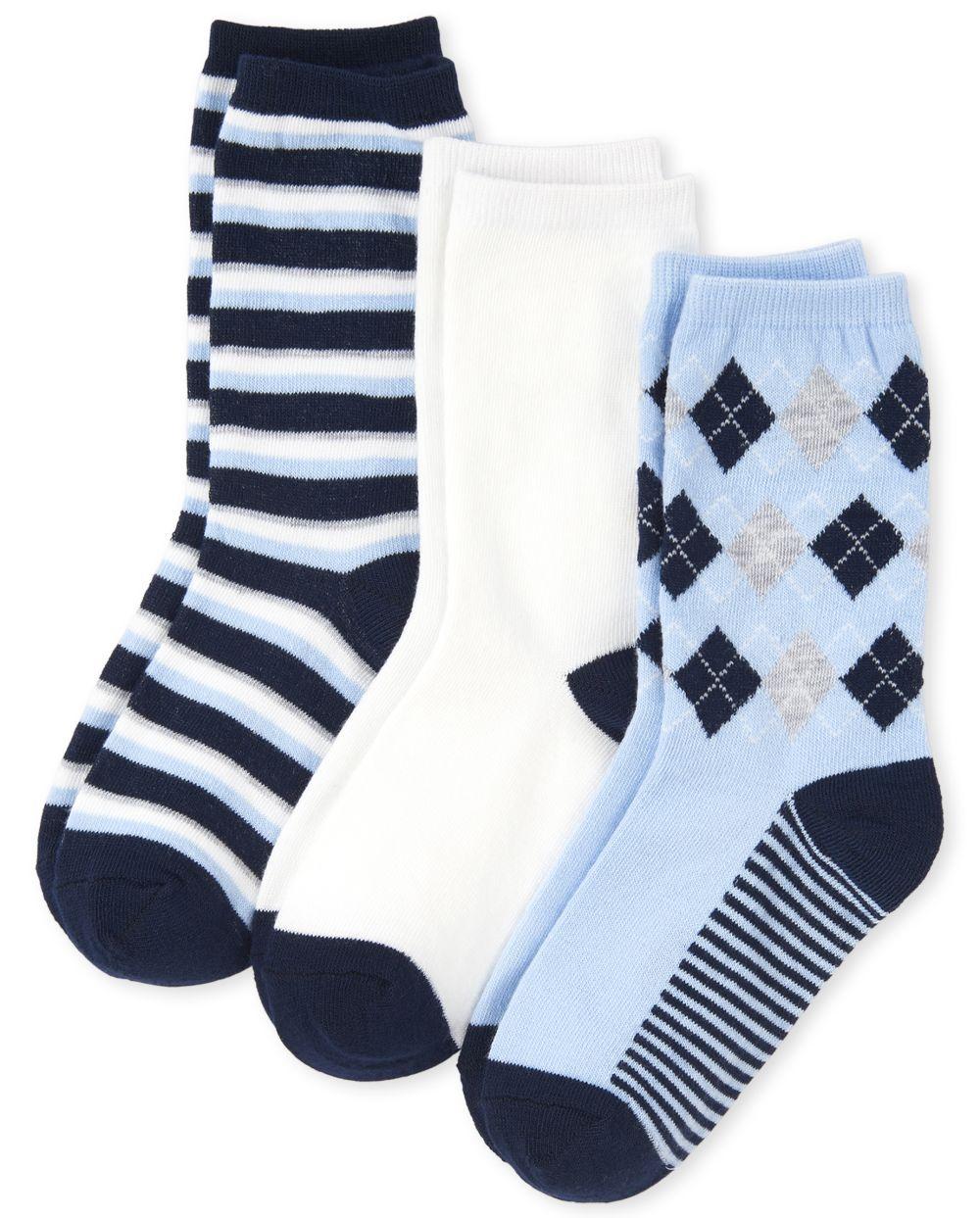 Boys Uniform Argyle Crew Socks 3-Pack