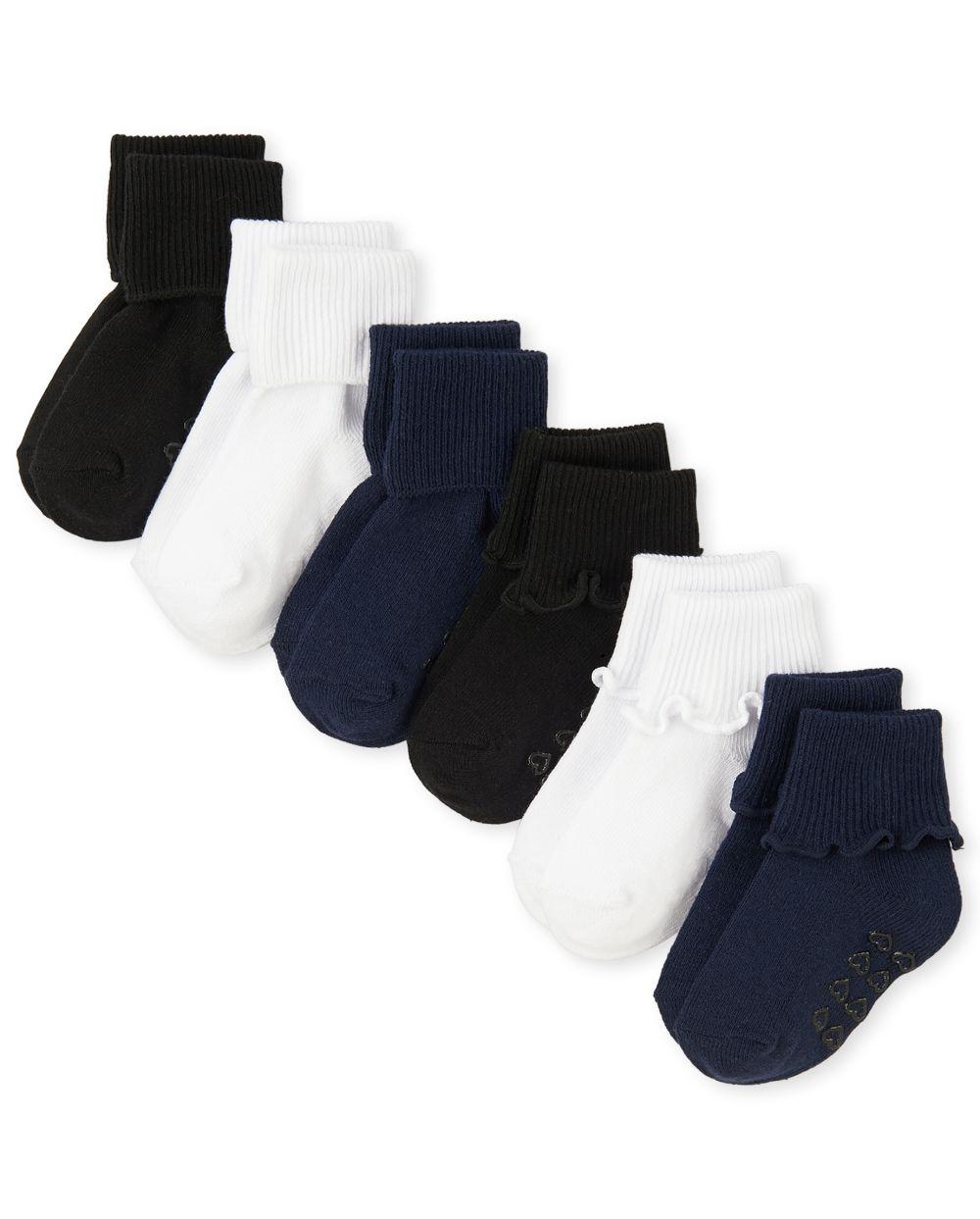 Toddler Girls Uniform Ruffle Turn Cuff Socks 6-Pack