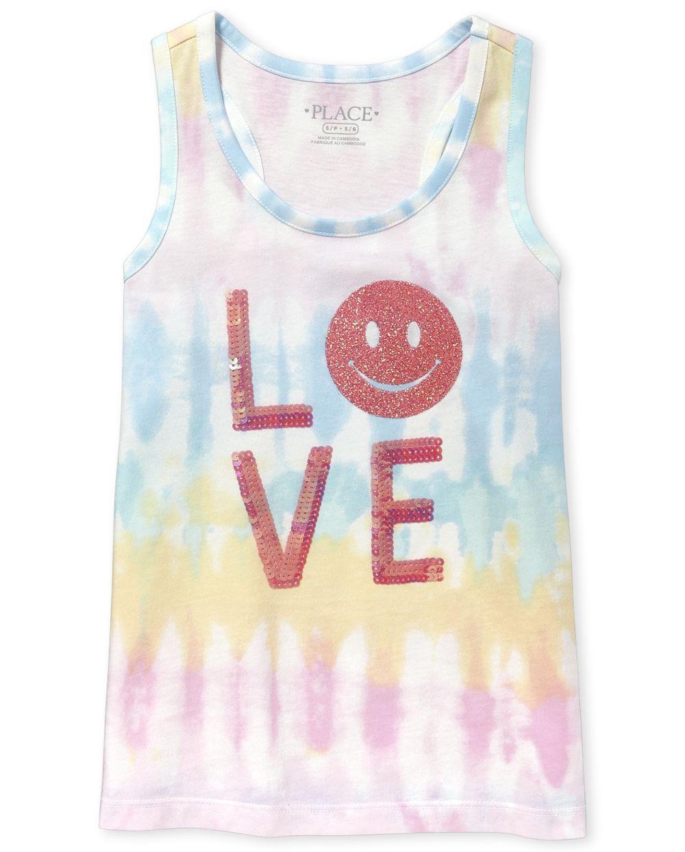 Girls Embellished LOVE Tie Dye Racerback Tank Top