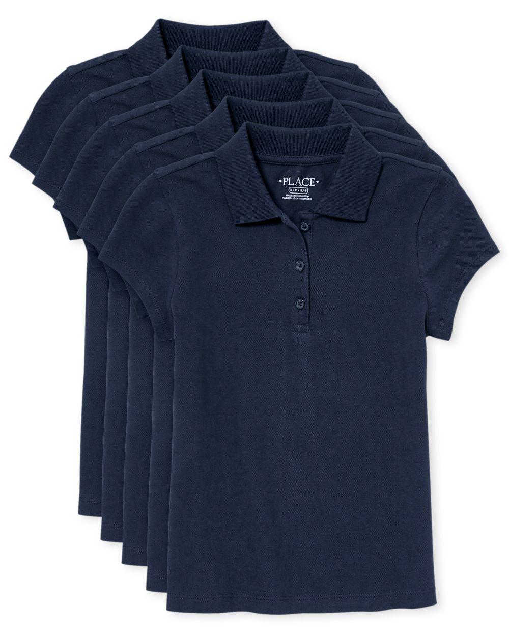 Girls Uniform Pique Polo 5-Pack