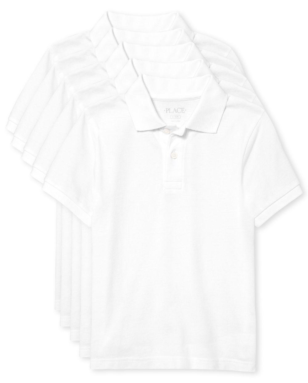 Boys Uniform Pique Polo 5-Pack