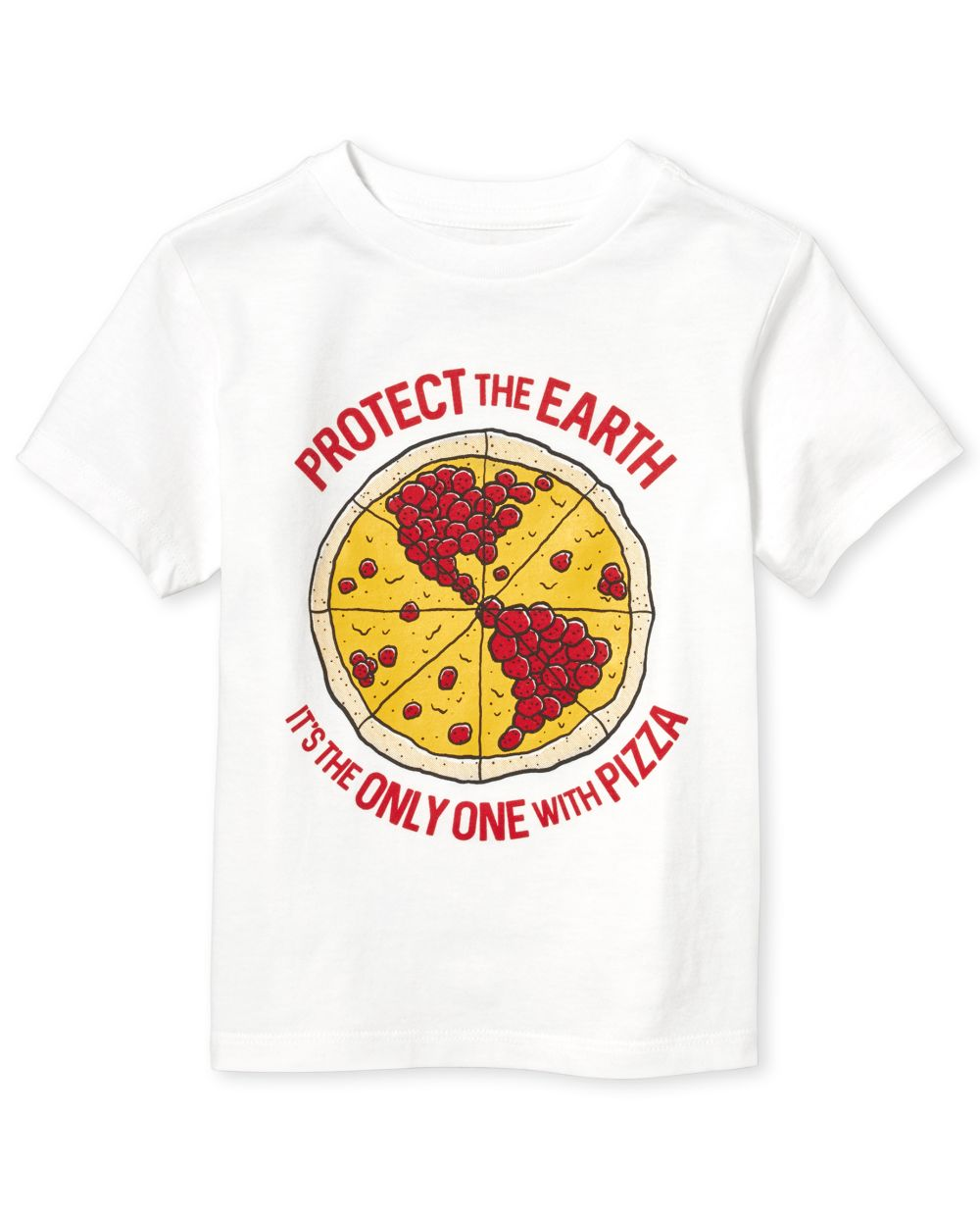 Baby And Toddler Boys Pizza Earth Graphic Tee