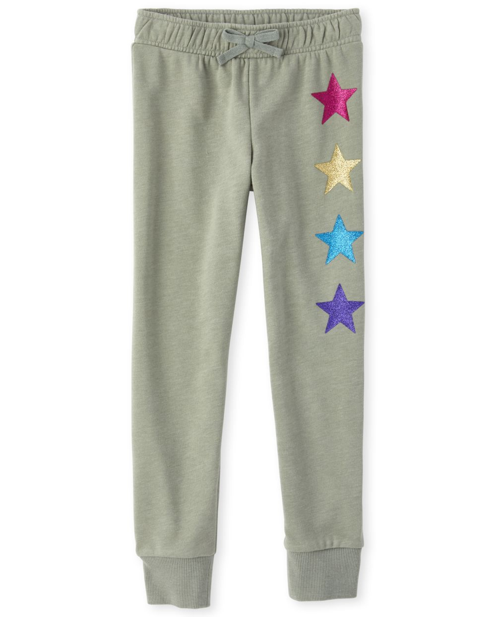 Girls Active Glitter Star French Terry Jogger Pants