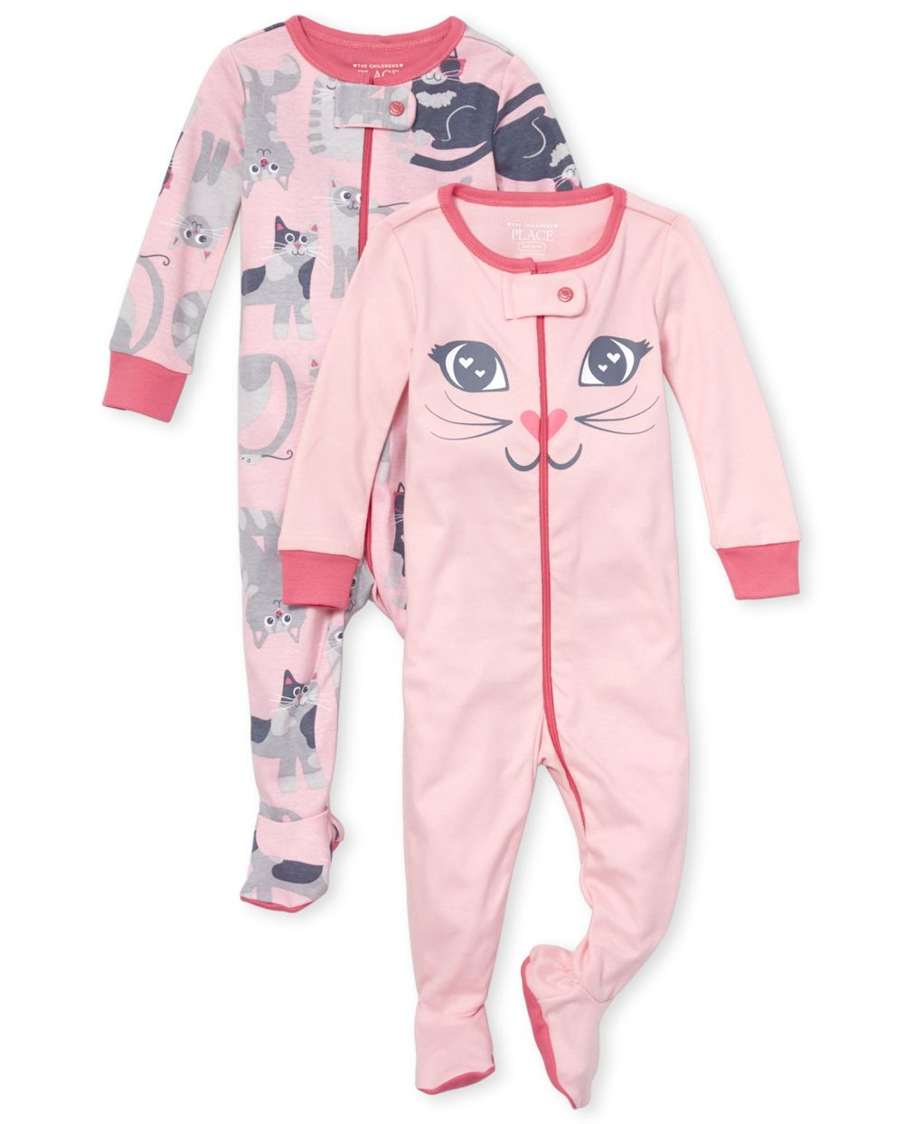 Baby And Toddler Girls Cat Snug Fit Cotton One Piece Pajamas 2-Pack
