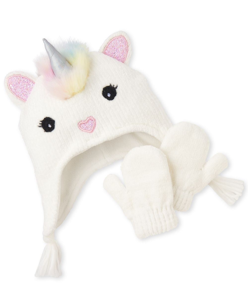 Toddler Girls Glitter Unicorn Hat And Mittens Set
