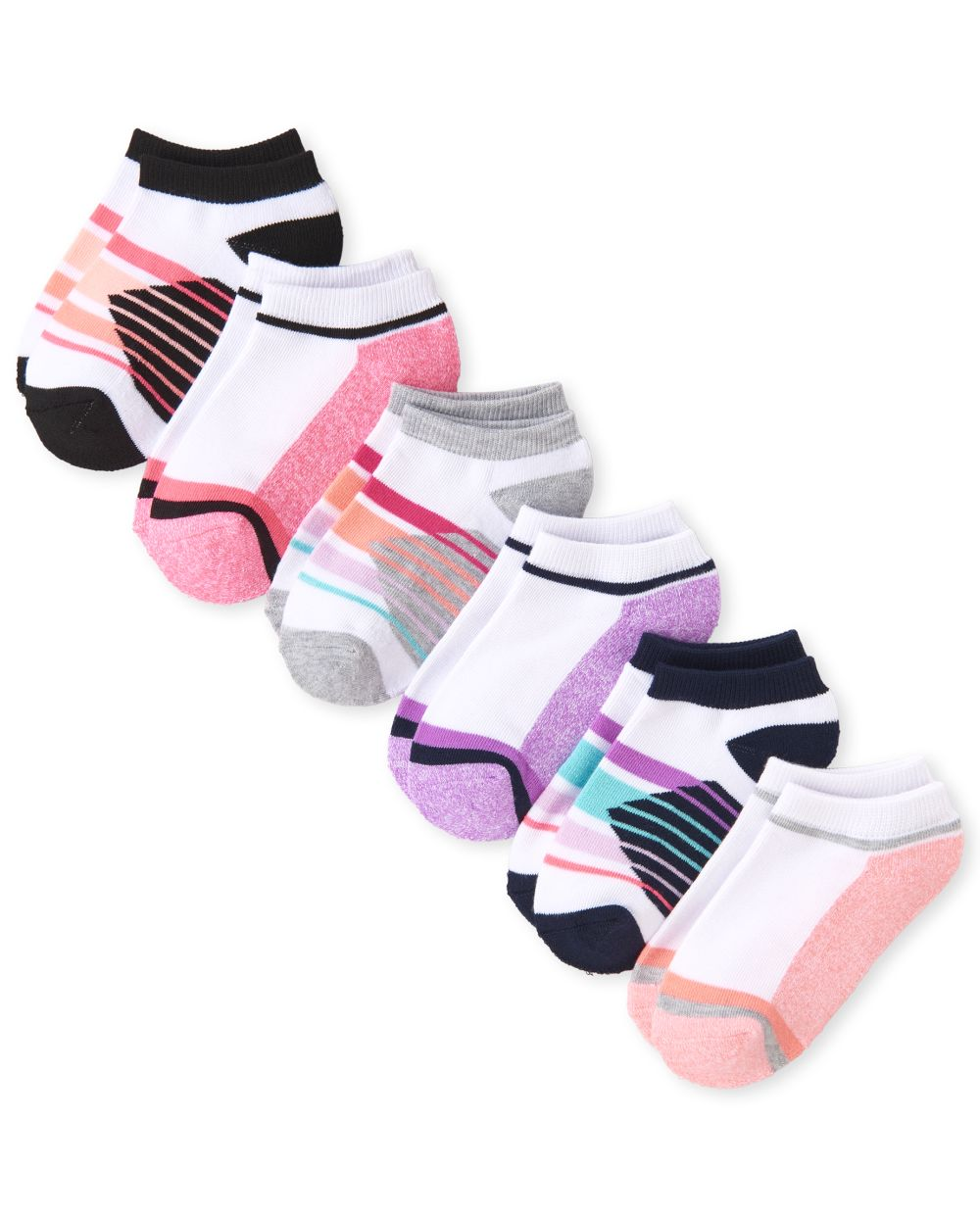 Girls Striped Athletic Ankle Socks 6-Pack