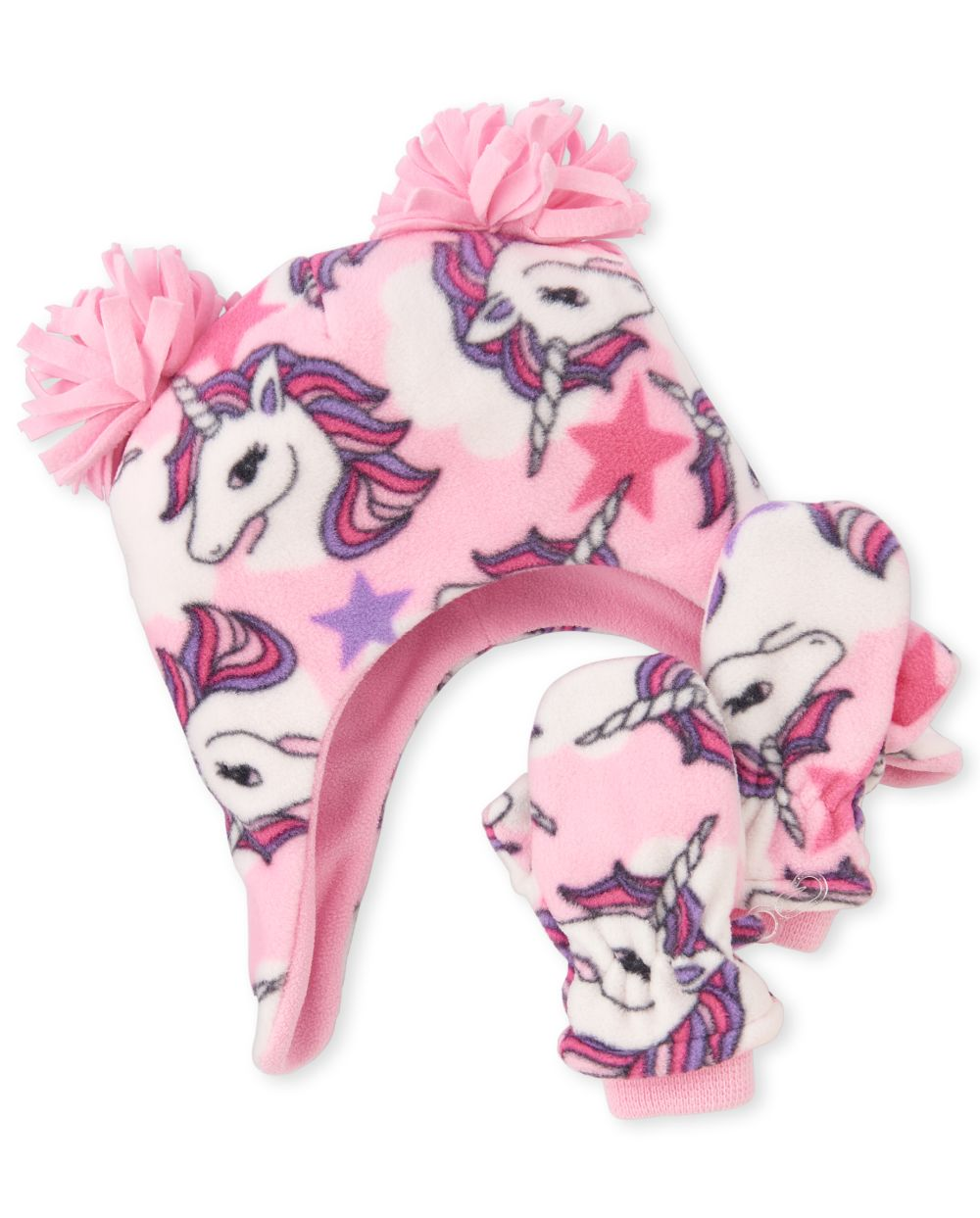Toddler Girls Unicorn Glacier Fleece Hat And Mittens Set