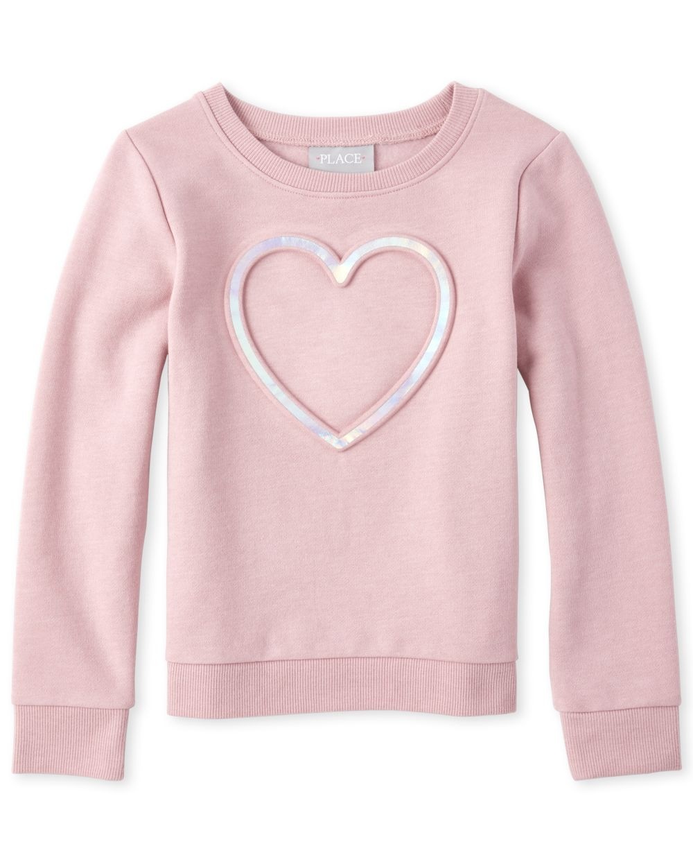 Girls Holographic Embossed French Terry Sweatshirt