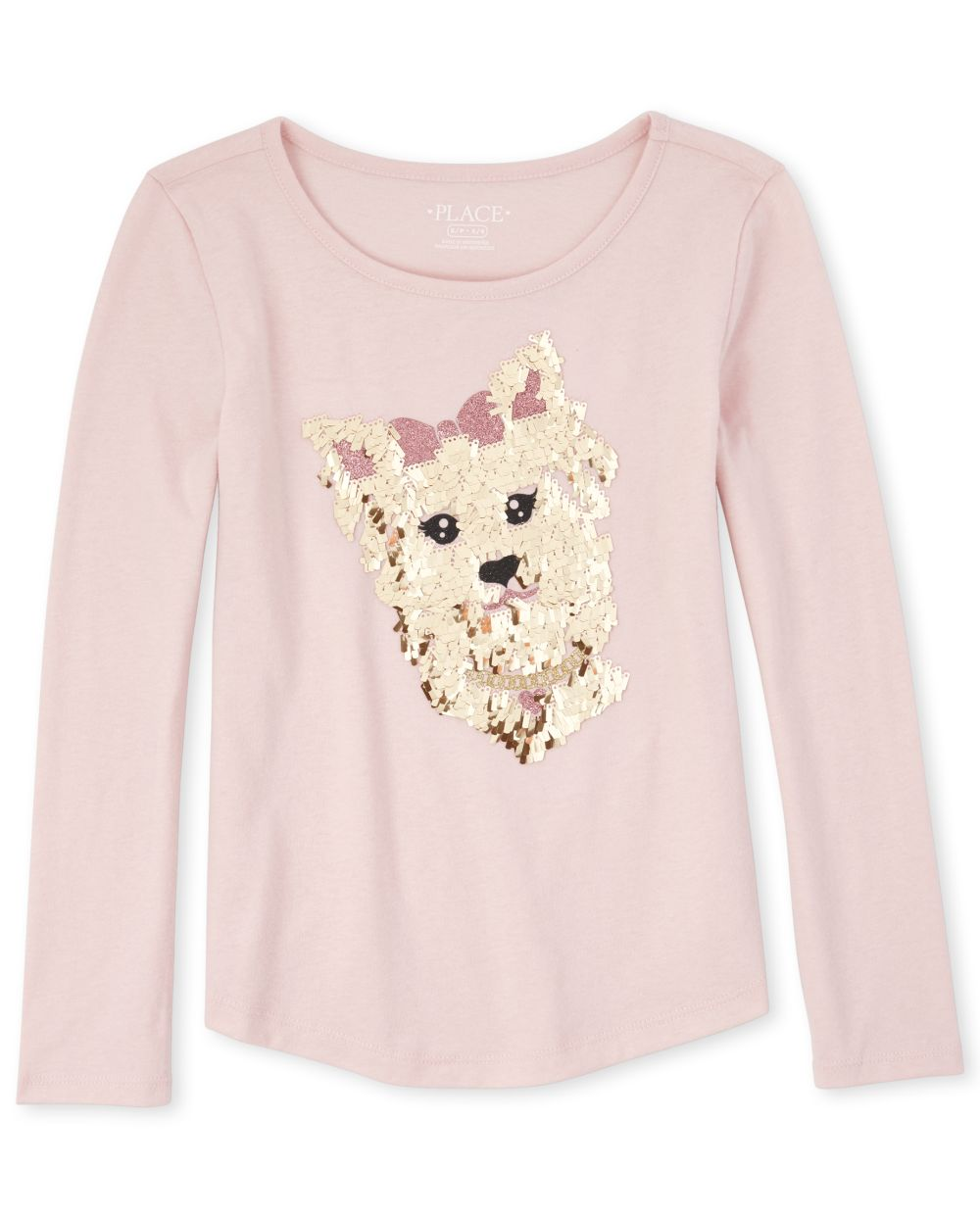 Girls Embellished Dog Curved Hem Top