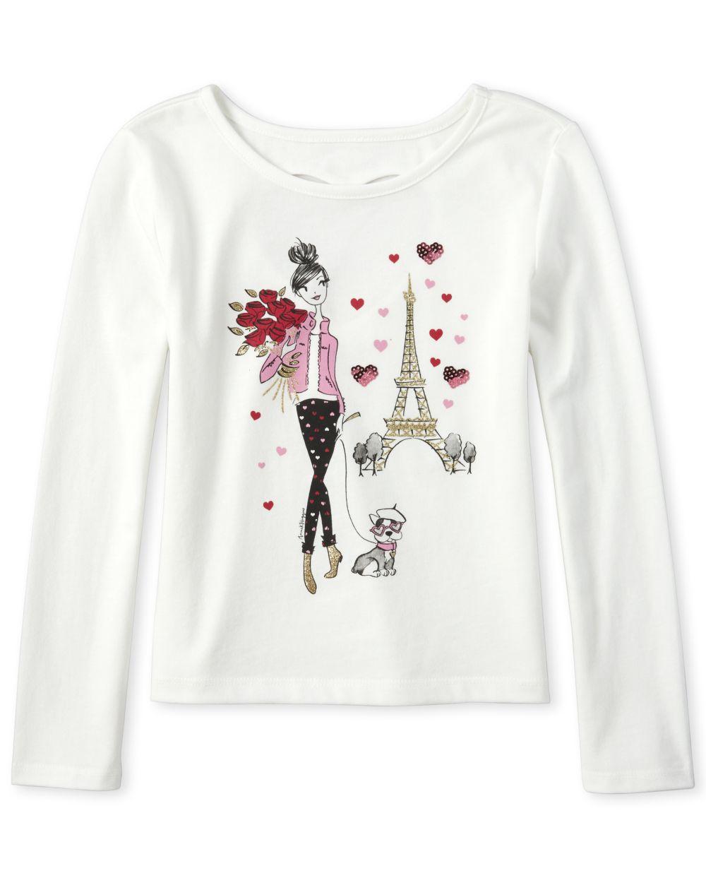 Girls Glitter Paris Heart Cut Out Top