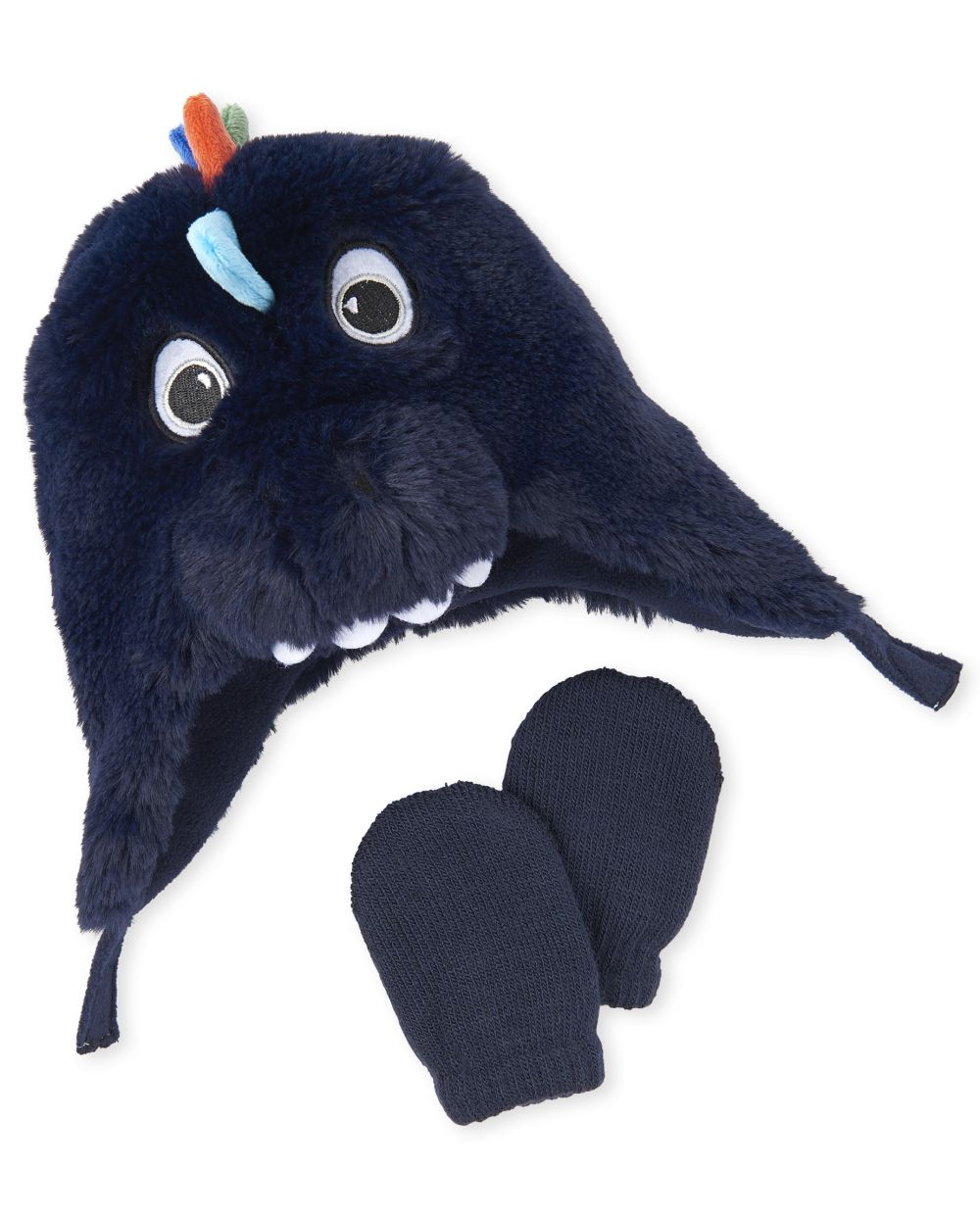 Baby And Toddler Boys Dino Faux Fur Hat And Mittens Set