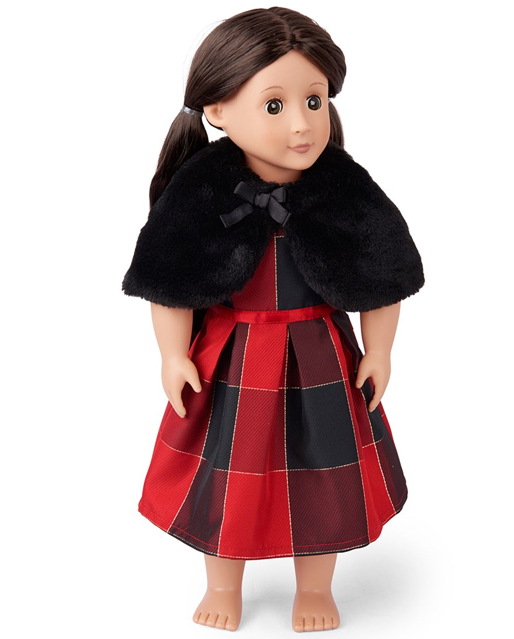 Doll Mommy And Me Glitter Buffalo Plaid Matching Pleated Dress And Faux Fur Cape Set