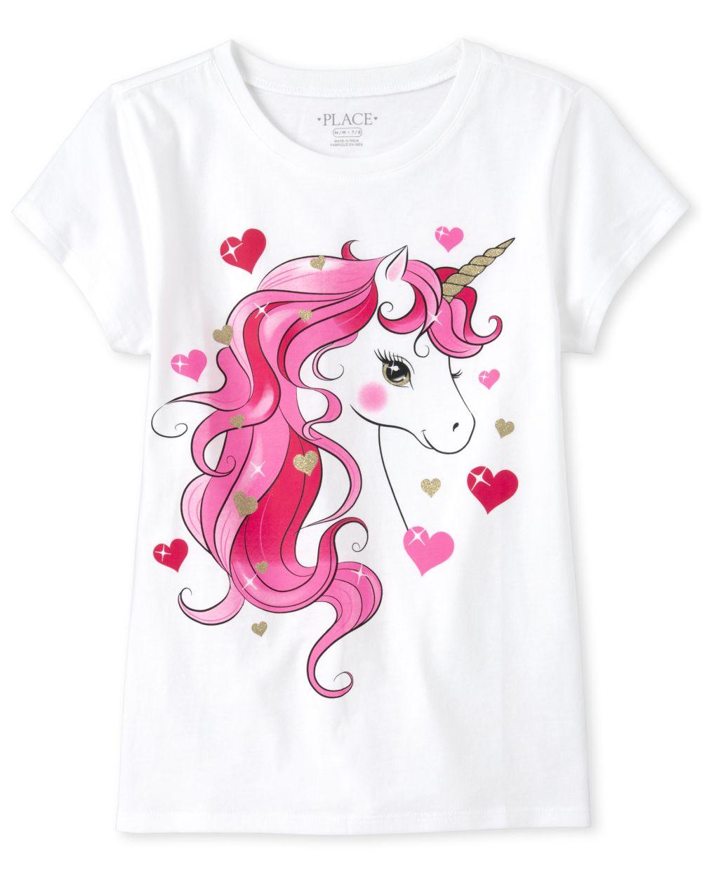 Girls Glitter Unicorn Graphic Tee