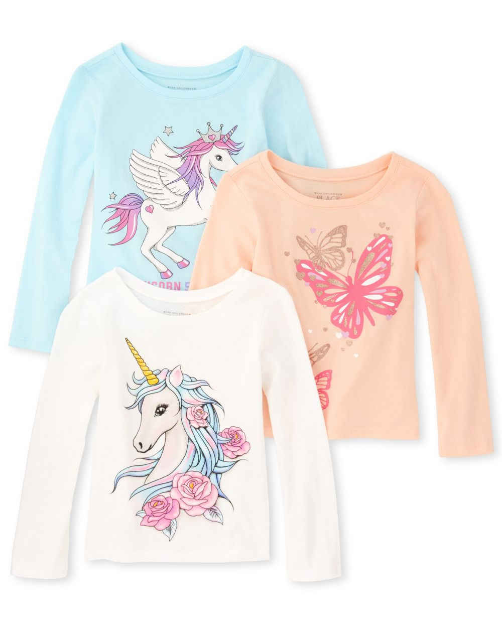 Baby And Toddler Girls Glitter Animal Graphic Tee 3-Pack