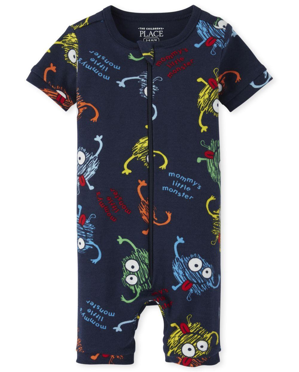 Pijama corto de una pieza de algodón con ajuste ceñido Monster para bebés y niños pequeños