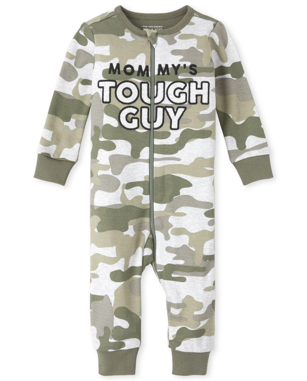 Pijama de una pieza de algodón con diseño de camuflaje bordado de mamá y niño pequeño