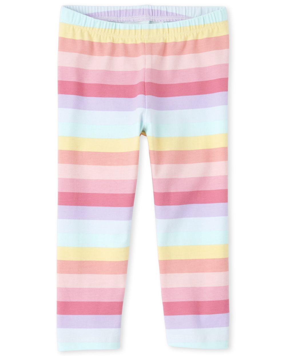 Girls Rainbow Striped Capri Leggings
