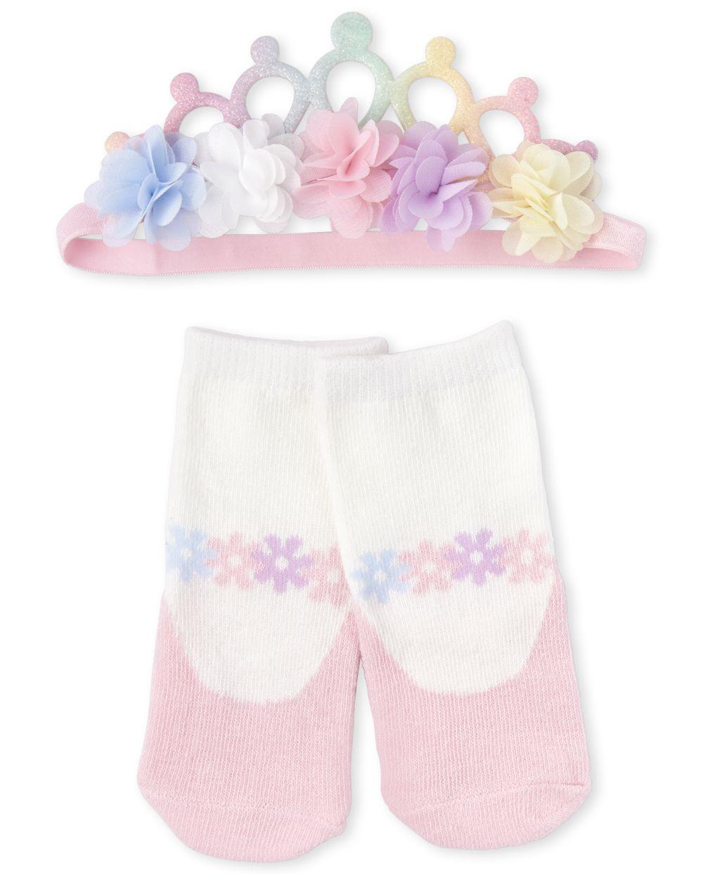 Baby Girls Flower Tiara Headwrap And Socks Set