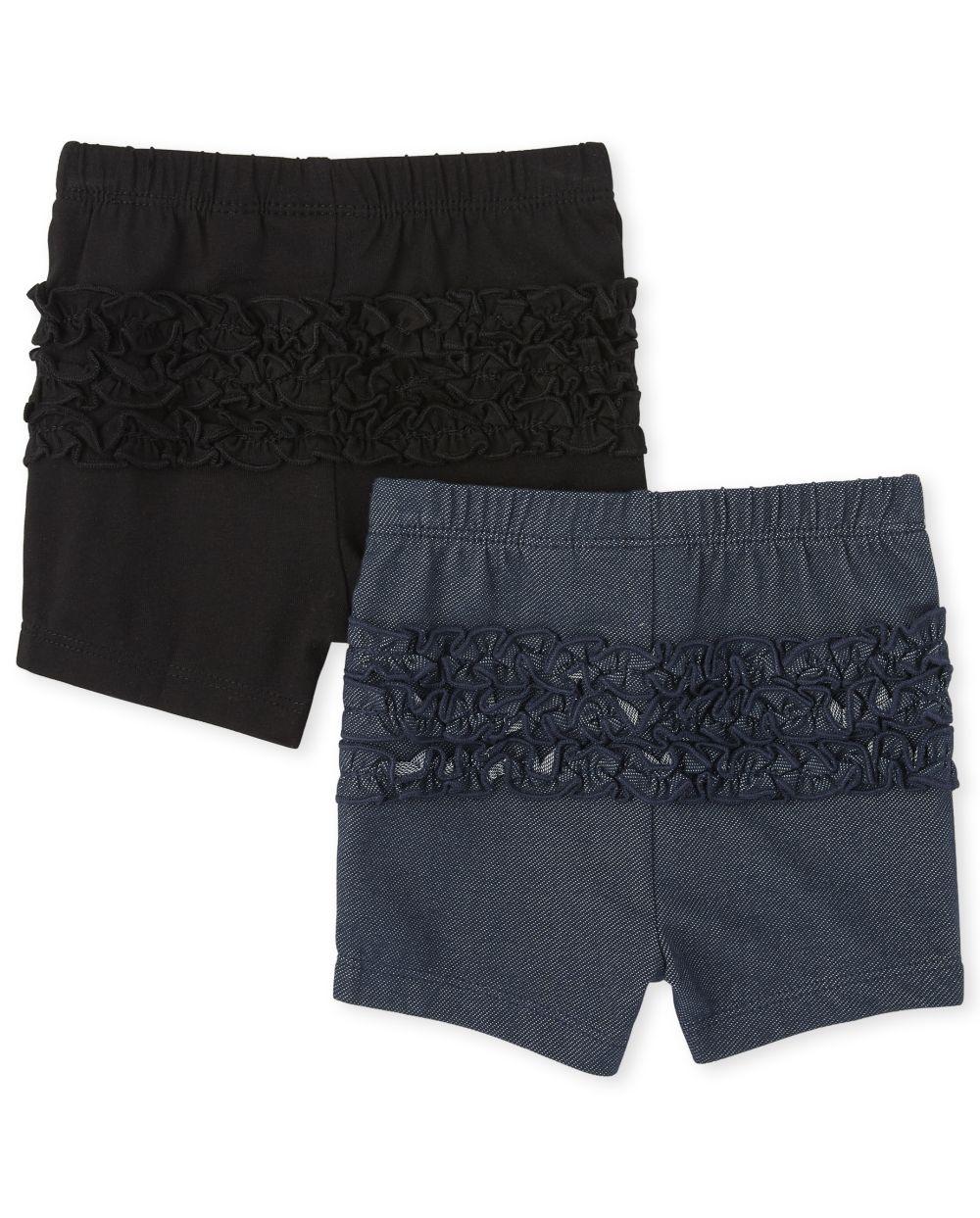 Baby Girls Ruffle Shorts 2-Pack