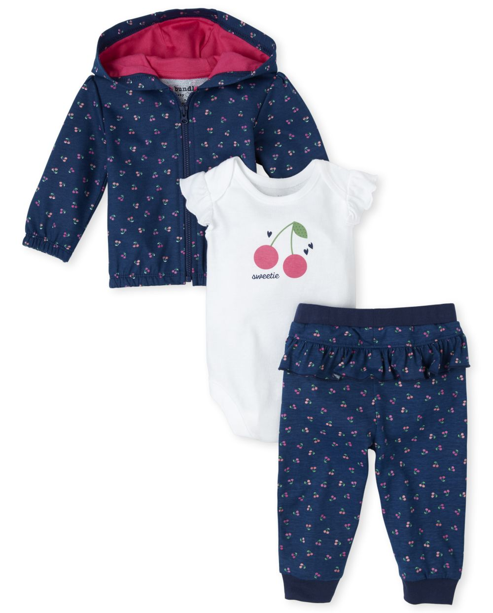 Baby Girls Cherry 3-Piece Playwear Set