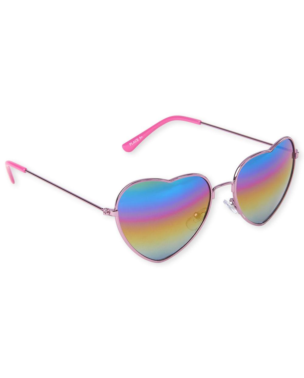 Girls Rainbow Ombre Heart Sunglasses