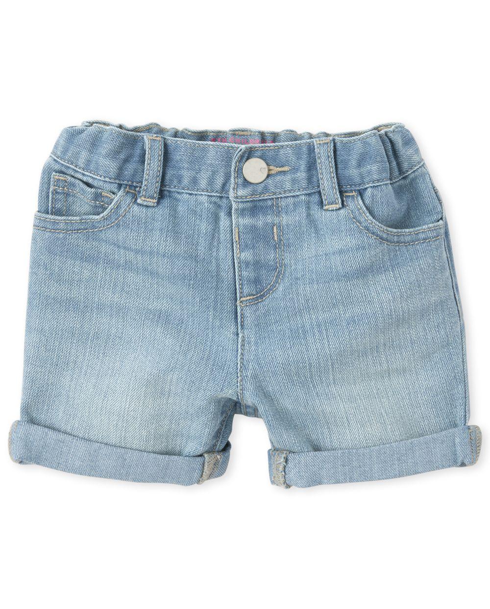 Baby And Toddler Girls Roll Cuff Denim Midi Shorts