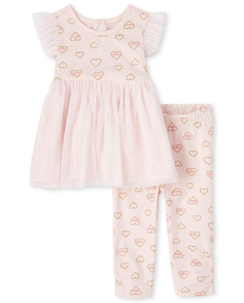 Baby Girls Glitter Heart 2-Piece Playwear Set