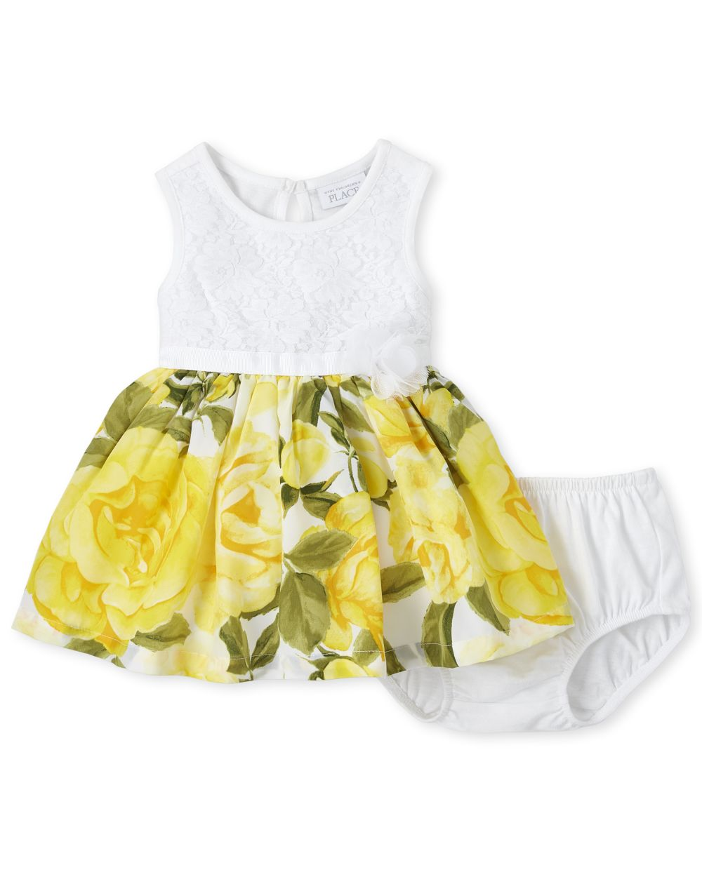 Baby Girls Lace Floral Knit To Woven Dress