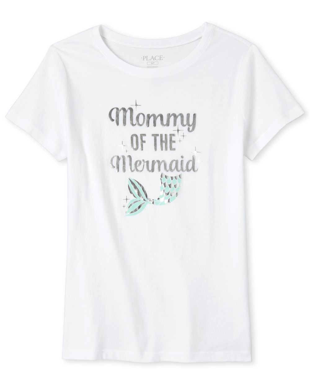 Womens Mommy And Me Foil Birthday Mermaid Matching Graphic Tee