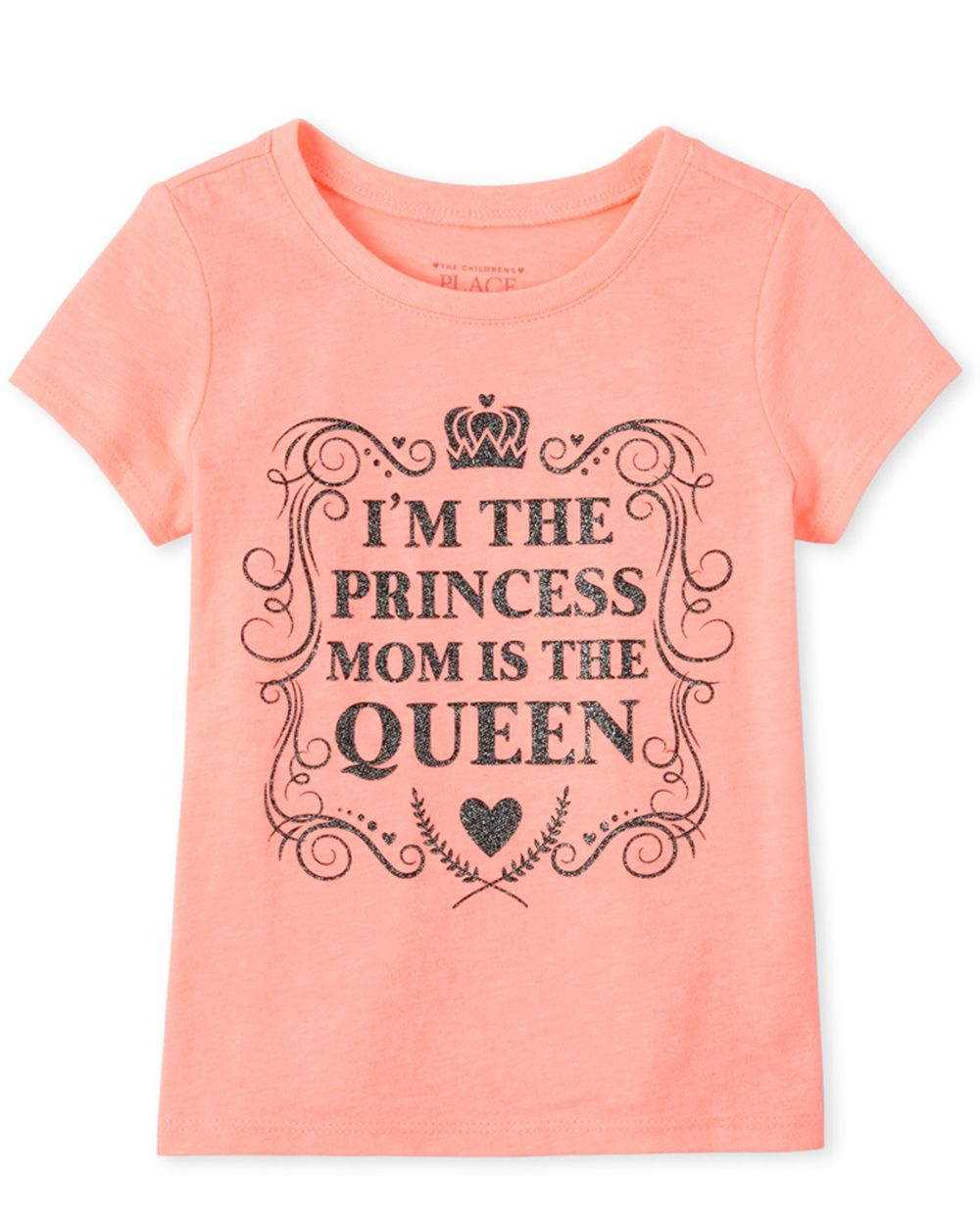 Baby And Toddler Girls Glitter Princess Graphic Tee