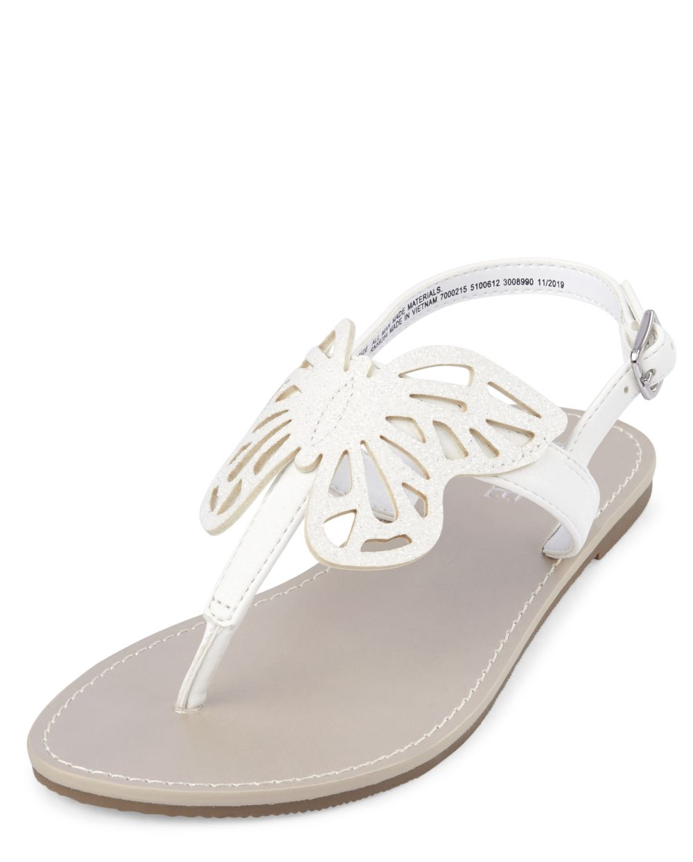 Girls Butterfly T-Strap Sandals