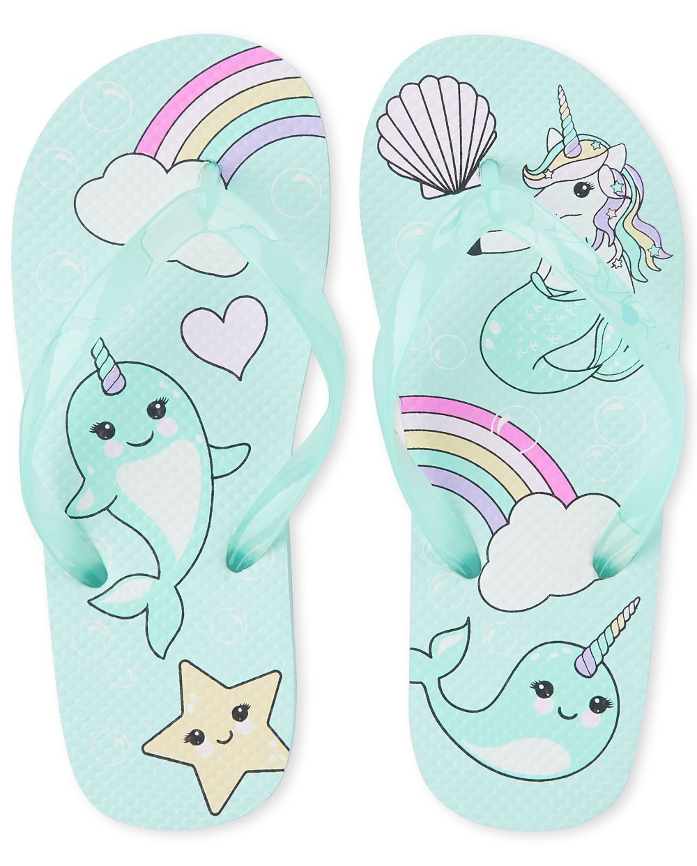 Girls Narwhal Flip Flops