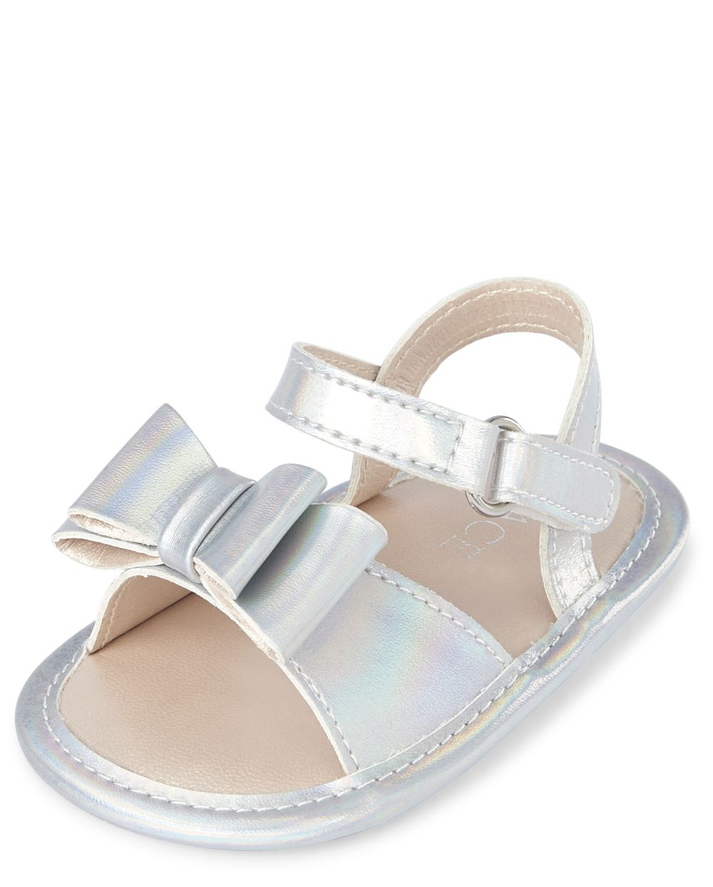 Baby Girls Holographic Bow Sandals