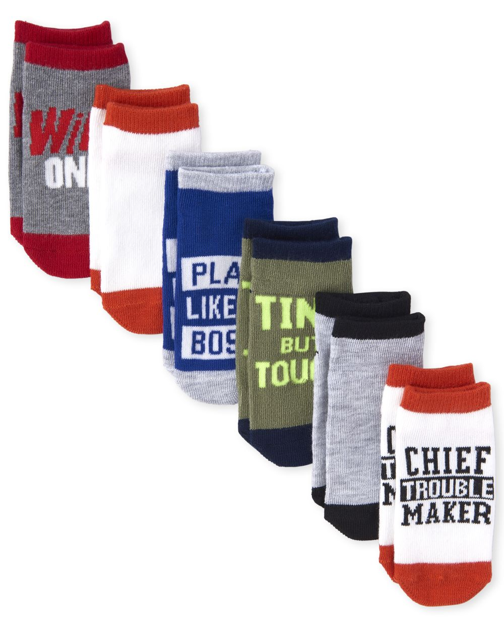 Toddler Boys Quotes Ankle Socks 6-Pack