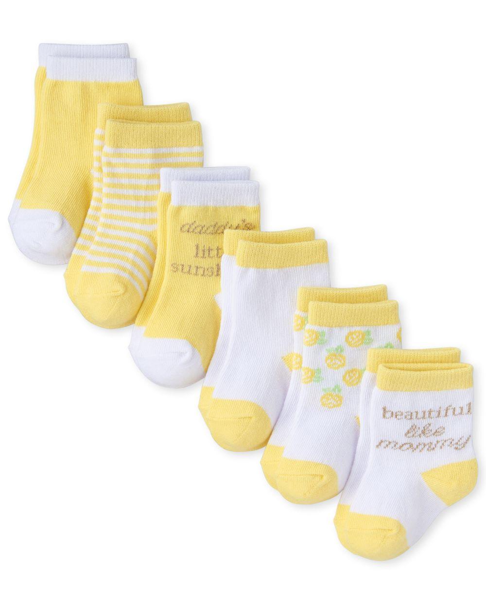 Baby Girls Glitter Mommy And Daddy Midi Socks 6-Pack