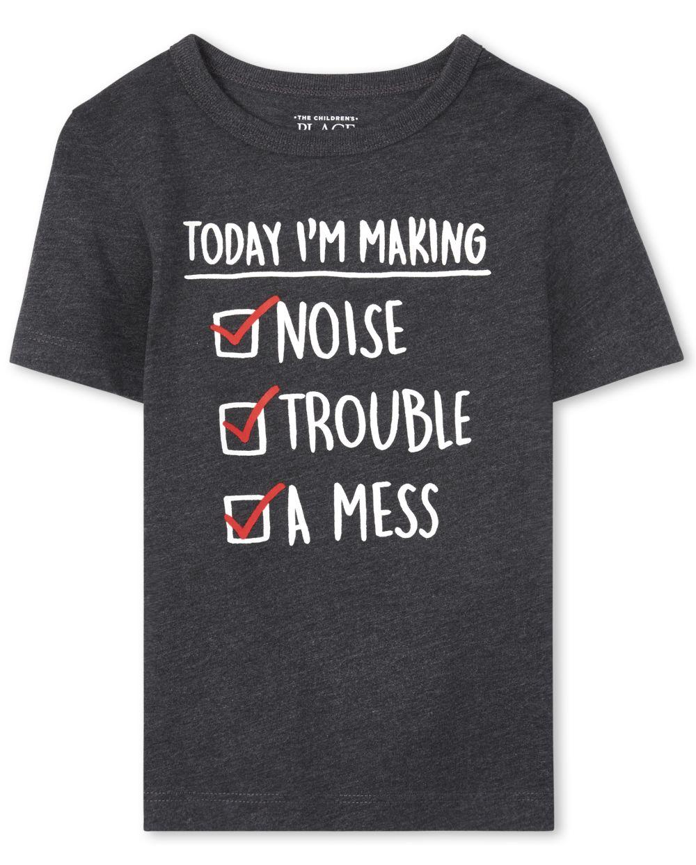 Camiseta estampada con problemas para bebés y niños pequeños