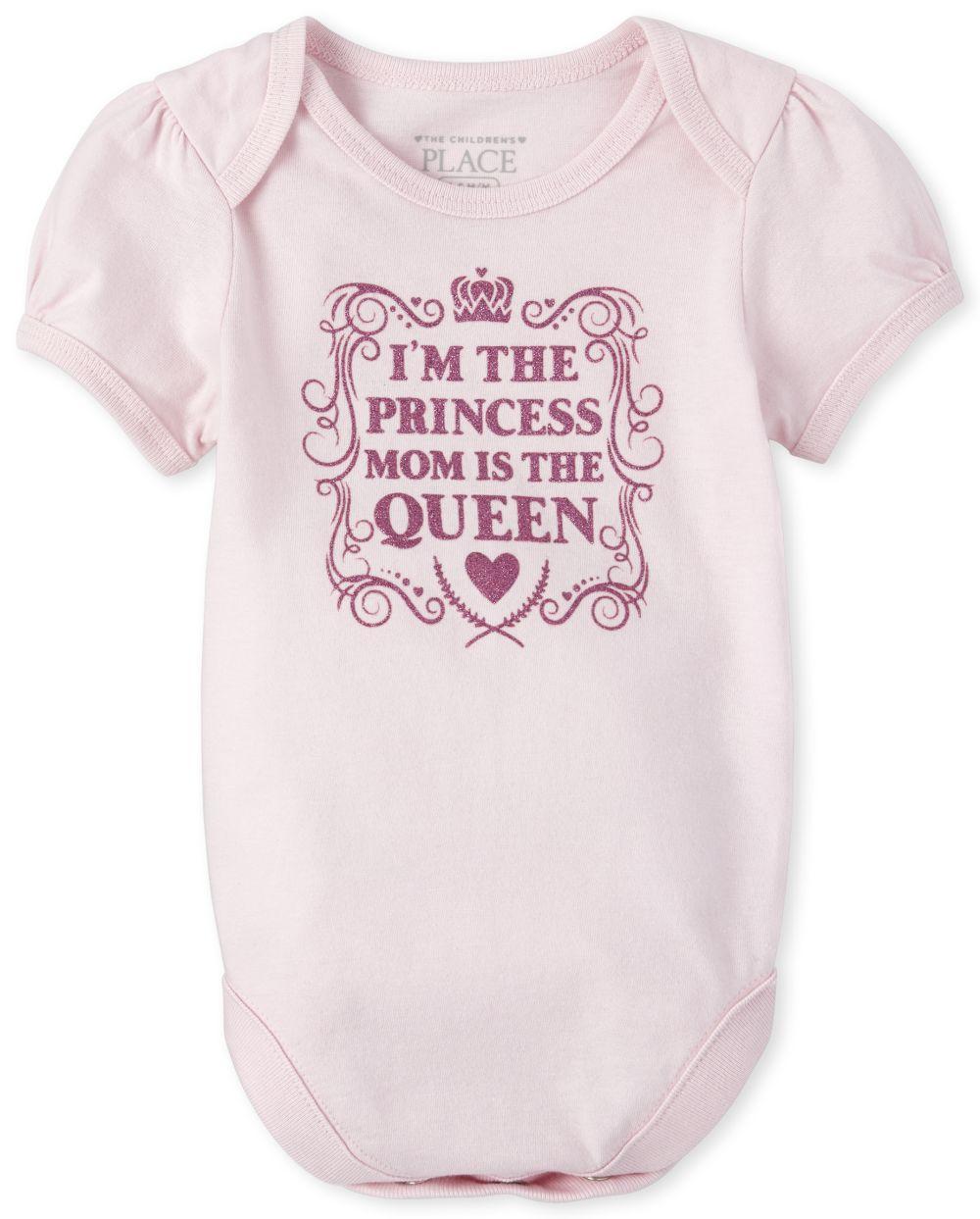 Baby Girls Glitter Princess Graphic Bodysuit