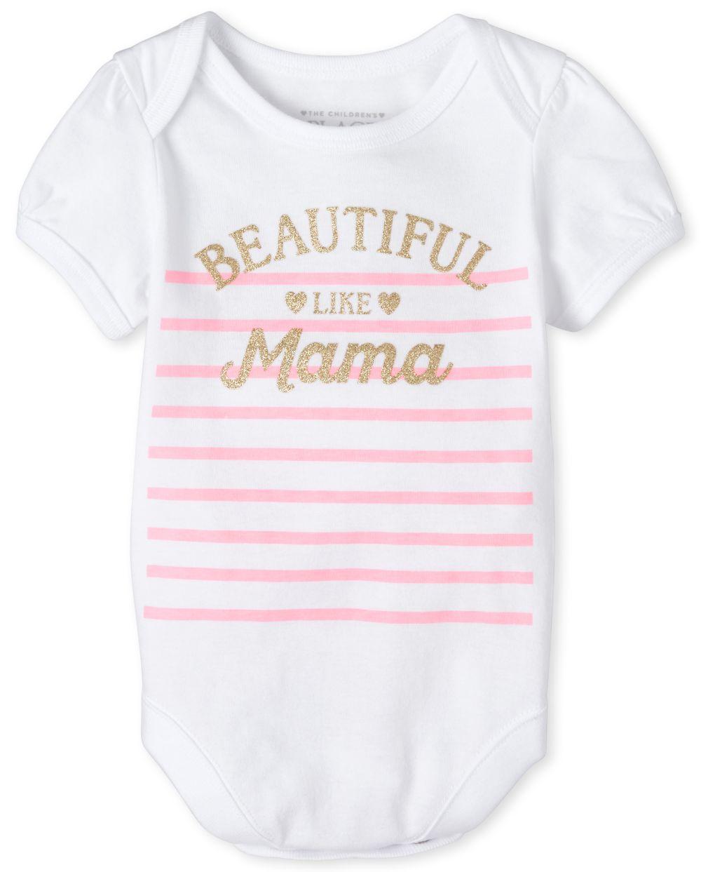 Baby Girls Glitter Mama Matching Graphic Bodysuit