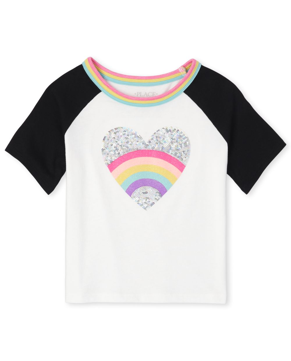 Girls Active Glitter Rainbow Heart Raglan Top