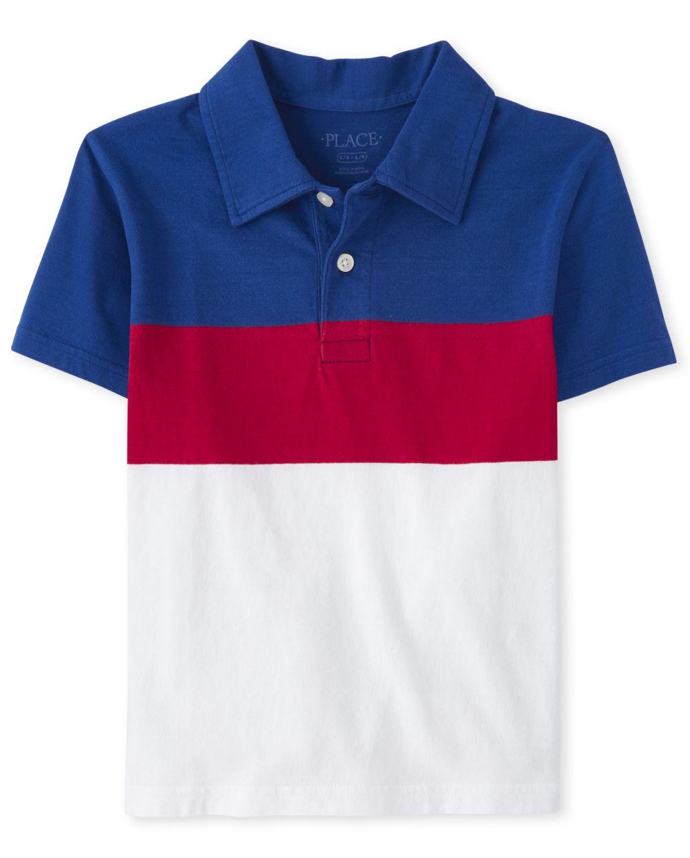 Boys Print Jersey Polo
