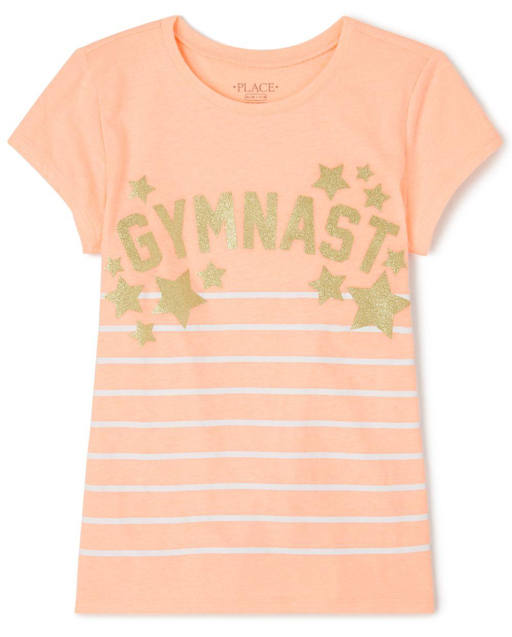 Girls Glitter Striped Gymnast Graphic Tee