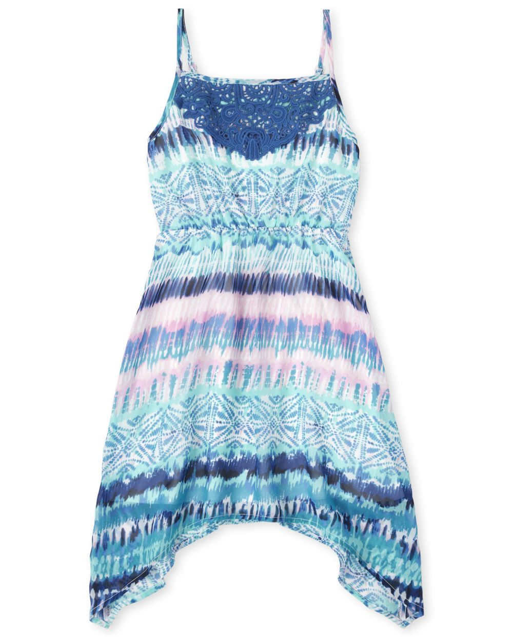 Girls Mommy And Me Watercolor Matching Sharkbite Hem Dress