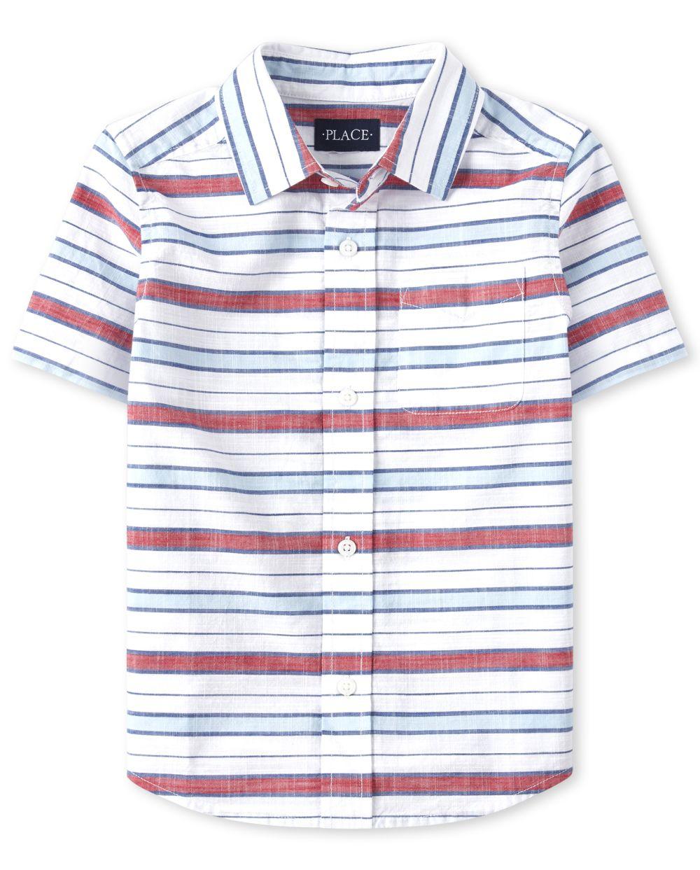 Boys Striped Chambray Button Down Shirt