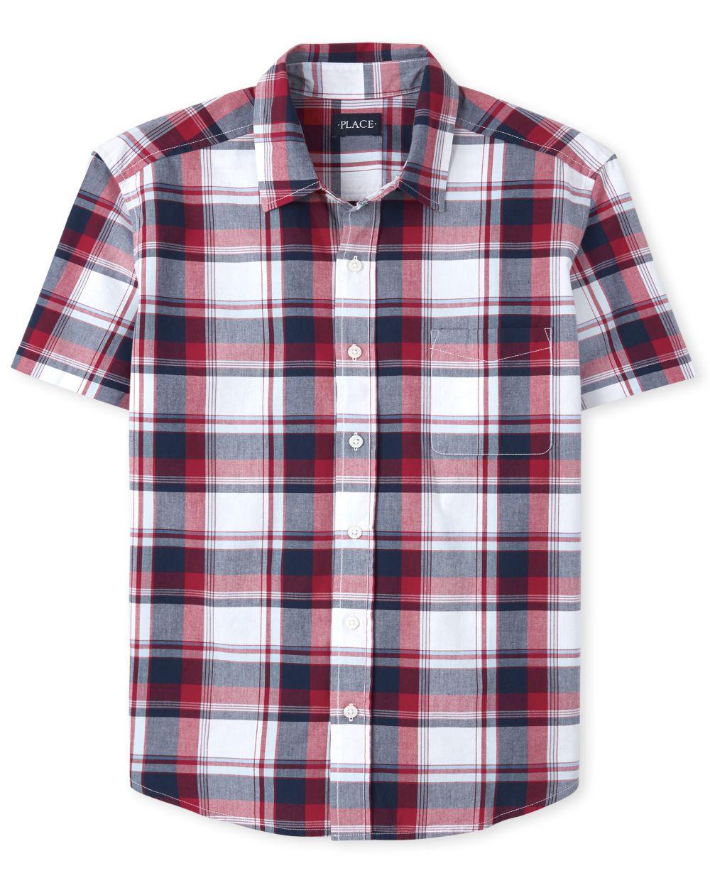 Mens Dad And Me Plaid Poplin Matching Button Down Shirt