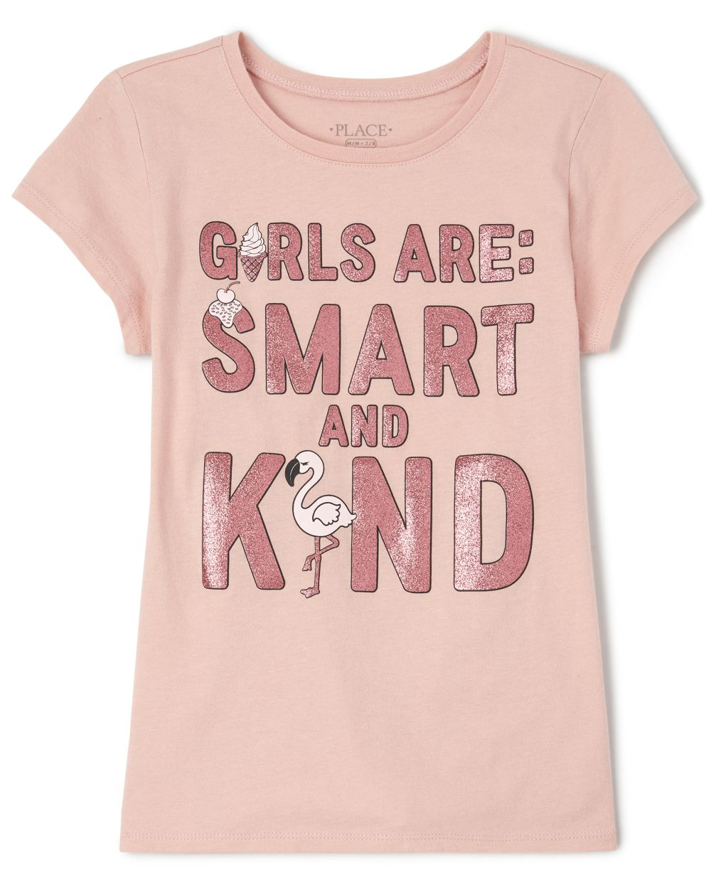 Girls Glitter Smart And Kind Graphic Tee