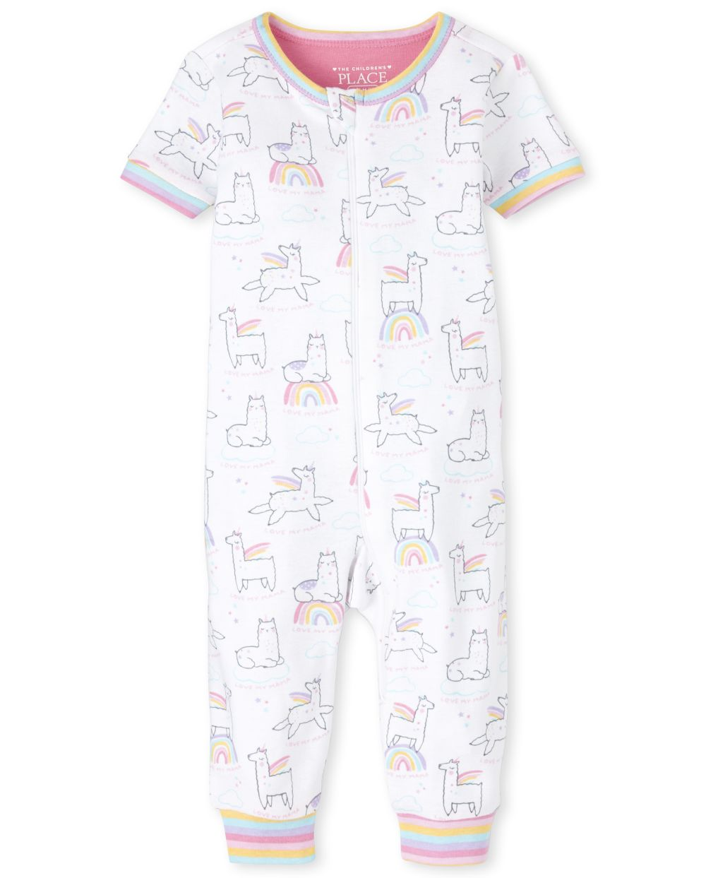 Baby And Toddler Girls Rainbow Llamacorn Snug Fit Cotton One Piece Pajamas
