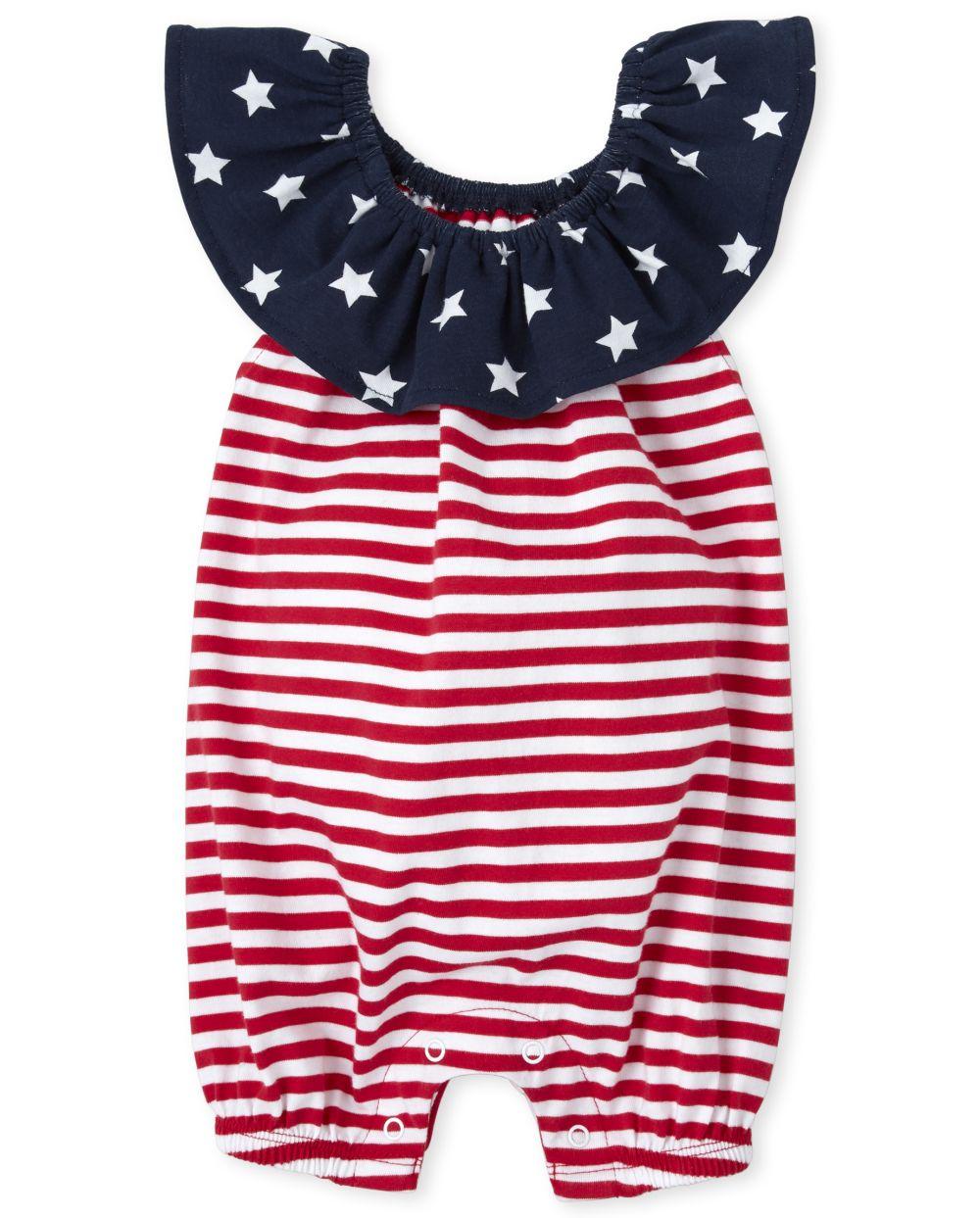 Baby Girls Americana Stars Ruffle Romper