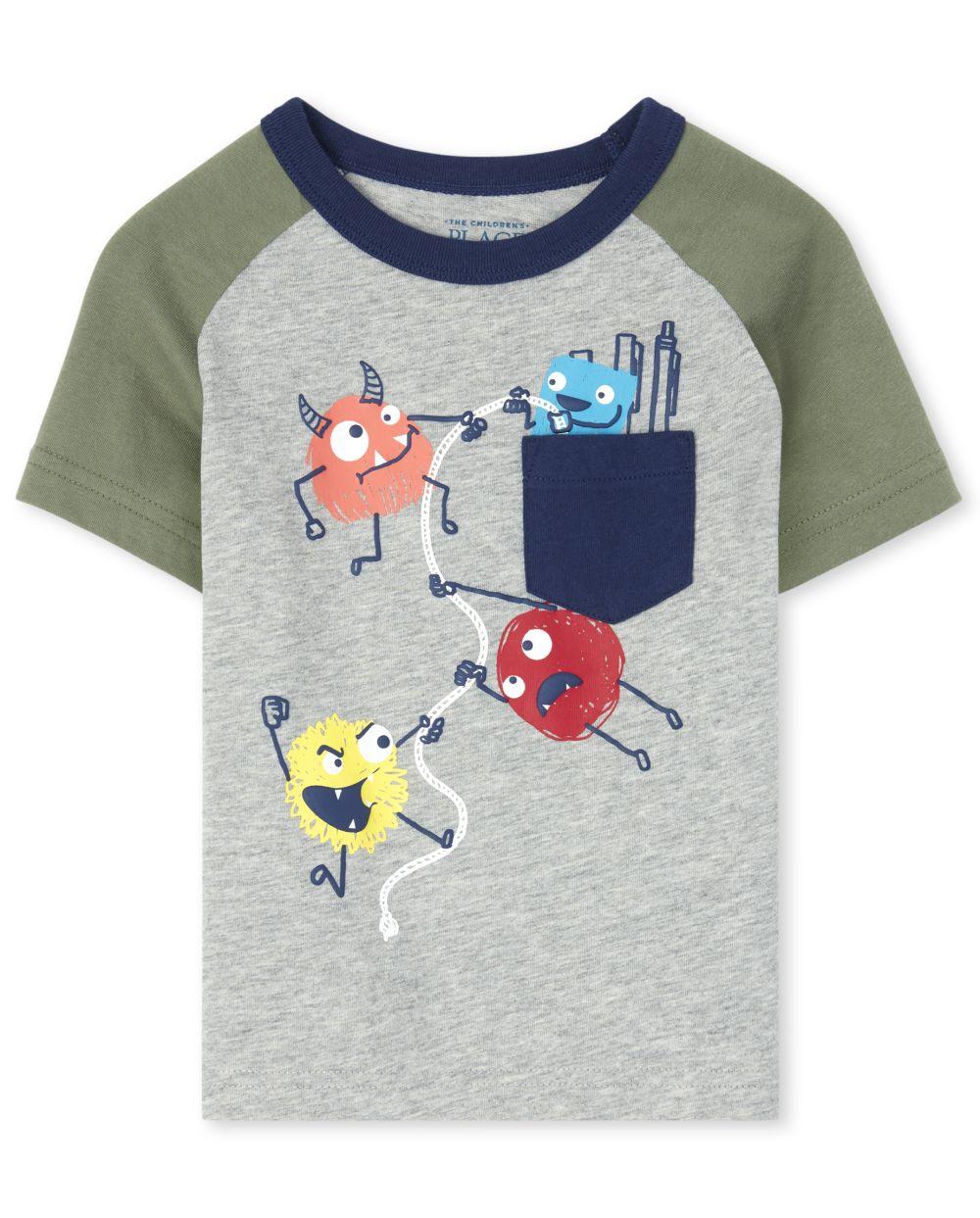 Top con bolsillo con estampado de puff para bebés y niños pequeños
