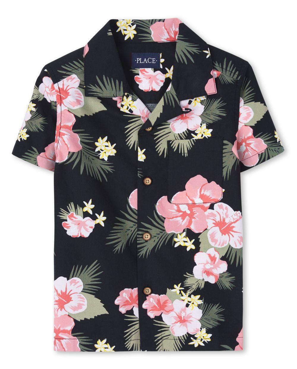 Boys Matching Family Tropical Poplin Button Down Shirt
