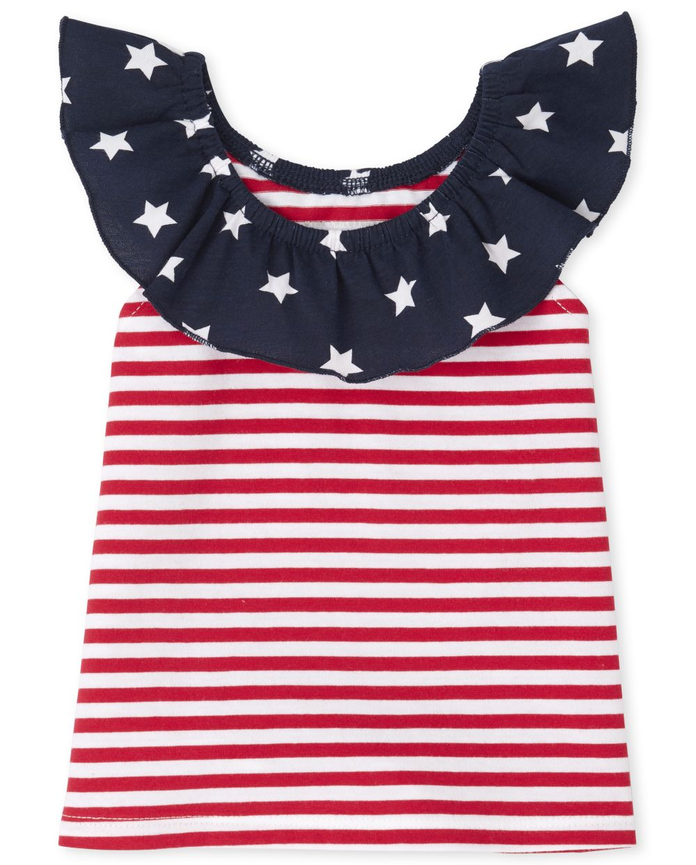 Baby And Toddler Girls Americana Mix And Match Stars Ruffle Top